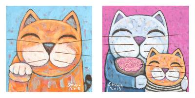 Cat-Themed Signed Naif Diptych from Thailand