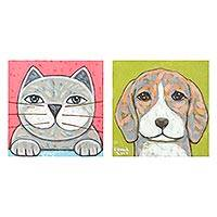 Diptych, 'Best Friend' - Signed Naif Diptych of a Cat and a Dog from Thailand