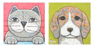 Signed Naif Diptych of a Cat and a Dog from Thailand