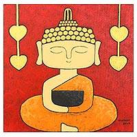 'Calmly Buddha' - Signed Naif Painting of Buddha Meditating