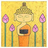 'Calmly Mind' - Signed Naif Buddha Painting in Yellow from Thailand