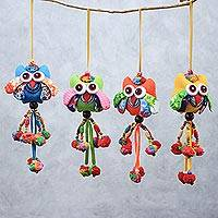 Cotton ornaments, 'Owl Color' (set of 4) - Colorful Cotton Owl Ornaments from Thailand (Set of 4)