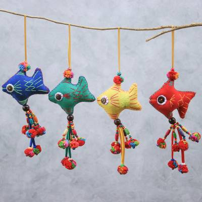 Cotton ornaments, 'Cheerful Fish' (set of 4) - Colorful Cotton Fish Ornaments from Thailand (Set of 4)