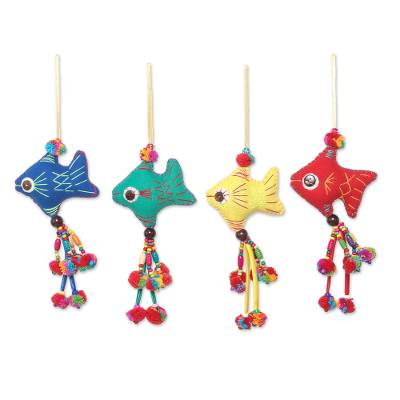 Colorful Cotton Fish Ornaments from Thailand (Set of 4)