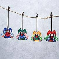 Cotton ornaments, 'Lovely Owls' (set of 4) - Assorted Cotton Owl Ornaments from Thailand (Set of 4)
