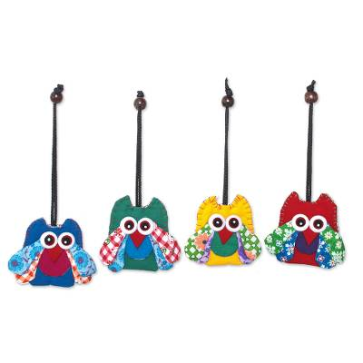 Assorted Cotton Owl Ornaments from Thailand (Set of 4)