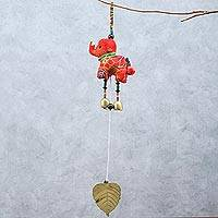Cotton mobile, 'Elephant Dance in Red' - Elephant-Themed Cotton Mobile in Red from Thailand