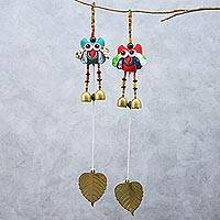 Cotton mobiles, 'Ringing Owls' (pair) - Handmade Owl-Themed Cotton Mobiles from Thailand (Pair)
