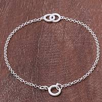 Sterling silver pendant bracelet, 'Love Connection' - Circle Motif Sterling Silver Pendant Bracelet from Thailand