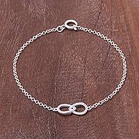 Sterling silver two circle pendant bracelet, 'To Infinity' - Infinity Motif Two Circle Sterling Silver Pendant Bracelet