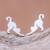 Sterling silver stud earrings, 'Feline Stretch' - Sterling Silver Cat Stud Earrings from Thailand (image 2) thumbail