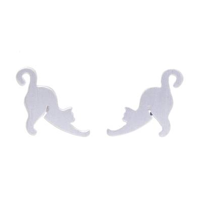 Sterling silver stud earrings, 'Feline Stretch' - Sterling Silver Cat Stud Earrings from Thailand