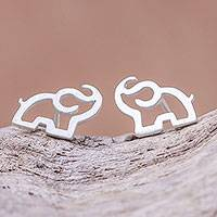 Sterling silver stud earrings, 'Elephant Trumpet'
