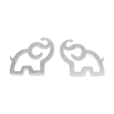 Sterling silver stud earrings, 'Elephant Trumpet' - Sterling Silver Elephant Stud Earrings from Thailand