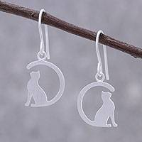 Sterling silver dangle earrings, 'Long-Tailed Cat' - Sterling Silver Cat Dangle Earrings from Thailand