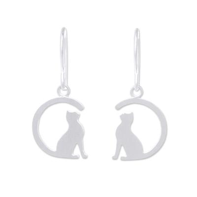 Sterling silver dangle earrings, 'Long-Tailed Cat' - Sterling Silver Cat Dangle Earrings from Thailand