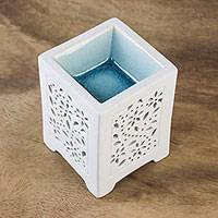 Ceramic oil warmer, 'Garden Fresh' - Crackled Ceramic Oil Warmer from Thailand