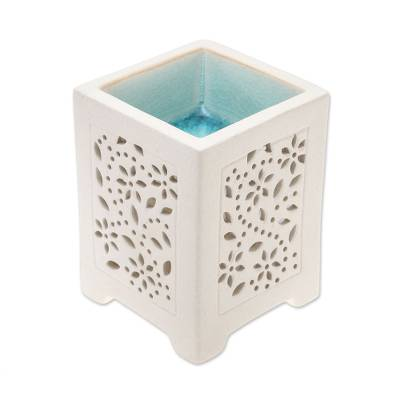 Crackled Ceramic Oil Warmer from Thailand