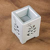 Ceramic oil warmer, 'Pollination' - Pale Green Crackled Ceramic Oil Warmer from Thailand