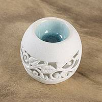 Ceramic oil warmer, 'Charming Ivy' - Leaf Motif Ceramic Oil Warmer from Thailand