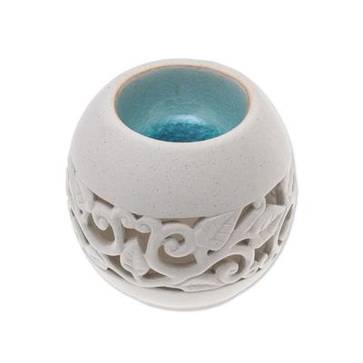 Leaf Motif Ceramic Oil Warmer from Thailand