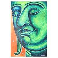 'Peaceful Jade' - Signed Expressionist Painting of Buddha in Green