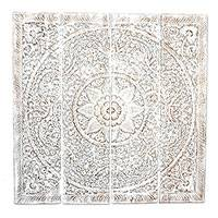 Reclaimed teakwood wall panels, 'Sunflower Exuberance in White' (quadriptych) - Whitewashed Reclaimed Teakwood Relief Panels (Quadriptych)