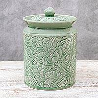 Celadon ceramic jar, 'Guarded Romance' - Celadon ceramic jar