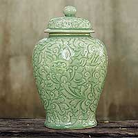 Celadon ceramic jar, 'Botanical Dream' - Handcrafted Botanical Glazed Celadon Ceramic Jar & Lid