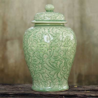 Celadon ceramic jar, 'Botanical Dream' - Fair Trade Celadon Ceramic Vase