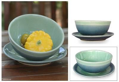 Celadon ceramic bowl and plate, 'Marine' - Celadon ceramic bowl and plate