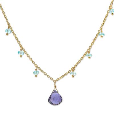 18k Gold Plated Iolite and Apatite Pendant Necklace