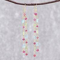 Gold plated multi-gemstone dangle earrings, 'Trio Rain' - Three-Stone Gold Plated Multigem Dangle Earrings