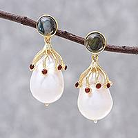 Gold plated multi-gemstone dangle earrings, 'Pearl of Life' - Gold Plated Multi-Gemstone Dangle Earrings from Thailand