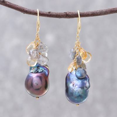 Gold accented multi-gemstone dangle earrings, 'Black Ocean' - Gold Accented Multi-Gemstone Earrings with Black Pearls