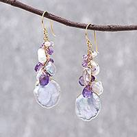 Gold plated cultured pearl and amethyst dangle earrings, 'Violet Ocean' - 18k Gold Plated Cultured Pearl and Amethyst Dangle Earrings
