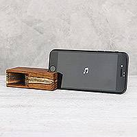 Teakwood phone speaker, 'Teak Sound' - Small Teakwood Phone Speaker from Thailand