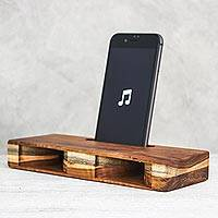 Teakwood phone speaker, 'Teak Symphony' - Handcrafted Teakwood Phone Speaker from Thailand