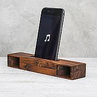 Teakwood phone speaker, 'Teak Orchestra' - Rectangular Teakwood Phone Speaker from Thailand