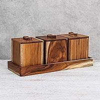 Teakwood decorative boxes, 'Teak Treasure' (set of 3) - Teakwood Decorative Boxes from Thailand (Set of 3)