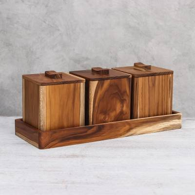 Teak wood decorative boxes, 'Teak Treasure' (set of 3) - Teak Wood Decorative Boxes from Thailand (Set of 3)