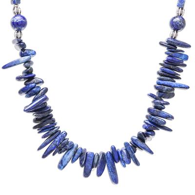 Lapis lazuli beaded necklace, 'Magnificent Waters' - Lapis Lazuli Beaded Necklace from Thailand