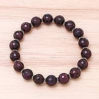 Garnet beaded stretch bracelet, 'Impress My Heart' - 125-Carat Garnet Beaded Stretch Bracelet from Thailand