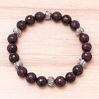 Garnet beaded stretch bracelet, 'Hill Tribe Dazzle' - Leaf Pattern Garnet Beaded Stretch Bracelet from Thailand