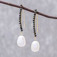 Gold accented cultured pearl and spinel dangle earrings, 'White Charm'