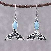 Larimar dangle earrings 'Whale Elegance' - Natural Larimar Dangle Earrings from Thailand