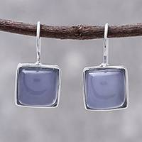 Rhodium plated chalcedony drop earrings, 'Gleaming Squares' - Square Rhodium Plated Chalcedony Drop Earrings from Thailand