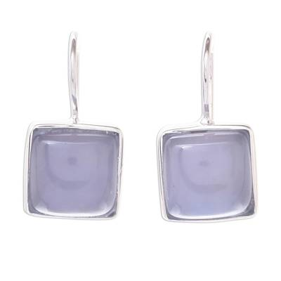 Square Rhodium Plated Chalcedony Drop Earrings from Thailand