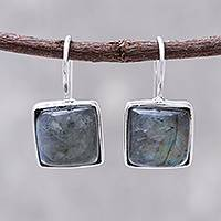 Rhodium plated labradorite drop earrings, 'Gleaming Squares' - Rhodium Plated Labradorite Drop Earrings from Thailand