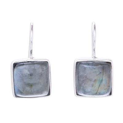 Rhodium Plated Labradorite Drop Earrings from Thailand